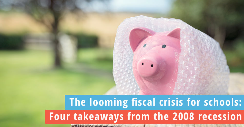 Looming Fiscal Crisis for Schools piggy bank wrapped in bubble wrap